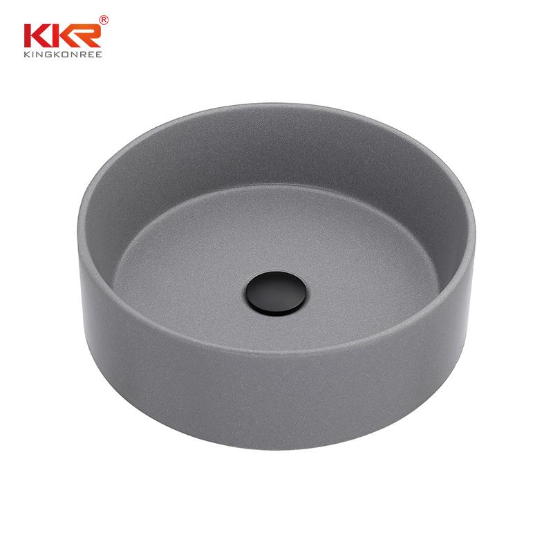 hot item quartz composite bathroom round countertop undermount sink