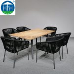 China High Quality Outdoor Furniture Marble Top Aluminium Frame Rope Woven Dining Table And Chairs Set Photos Pictures Made In China Com
