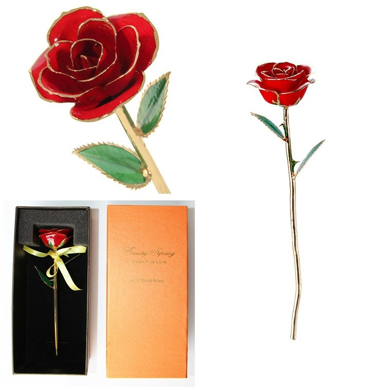 12 Inches Real Red Rose Trimmed 24k Gold As Christams