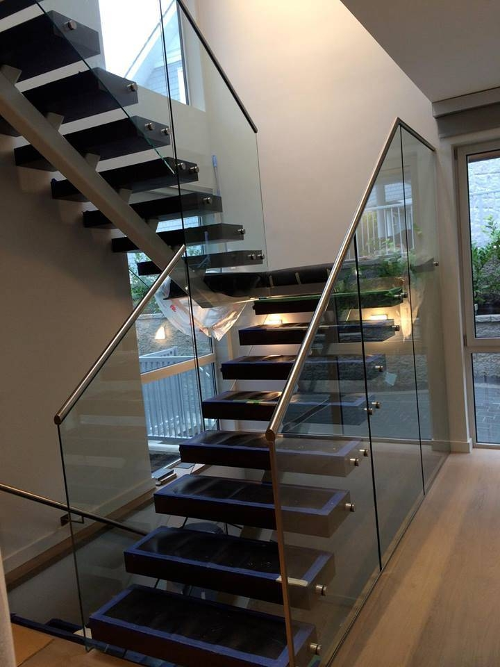 China Staircase Railing Designs With Glass Staircase Glass Railing | Stairs Railing Designs In Steel With Glass | Single Wall | Interior | Eye Catching | Steel Main Gate | Contemporary