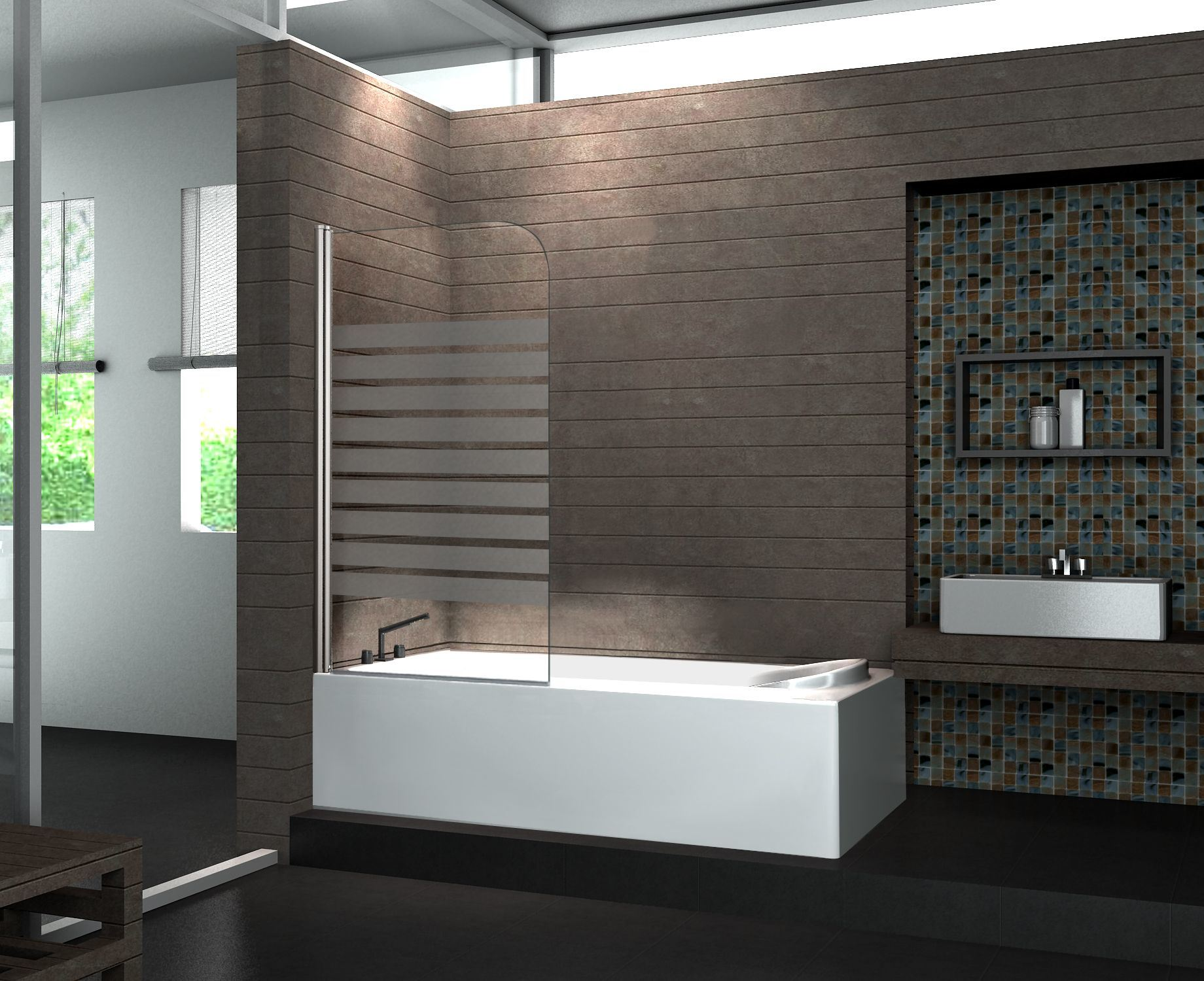 China Nano Tempered Glass Elegant Hinge Curved Bath Shower