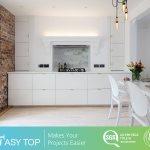Hot Item Australia Clean Line Modern Particle Board Lacquer Kitchen Cupboard With Quartz Stone