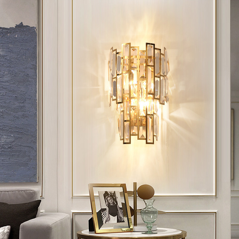 China Europe Style Gold Crystal Wall Sconce Light For Villas Living Room China Wall Light Gold Wall Light