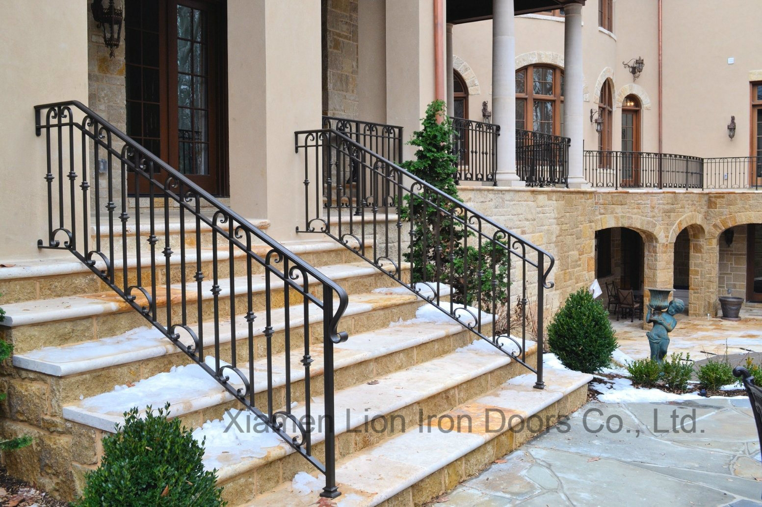 China Outdoor Black Metal Stair Railing Wrought Iron Handrail   Wrought Iron Handrails For Outside Steps   Front Porch   Stair Covering   Metal