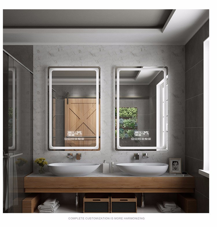 hot item rectangle long wall lighted vanity led illuminated mirror with integrated lighting for bathroom decor