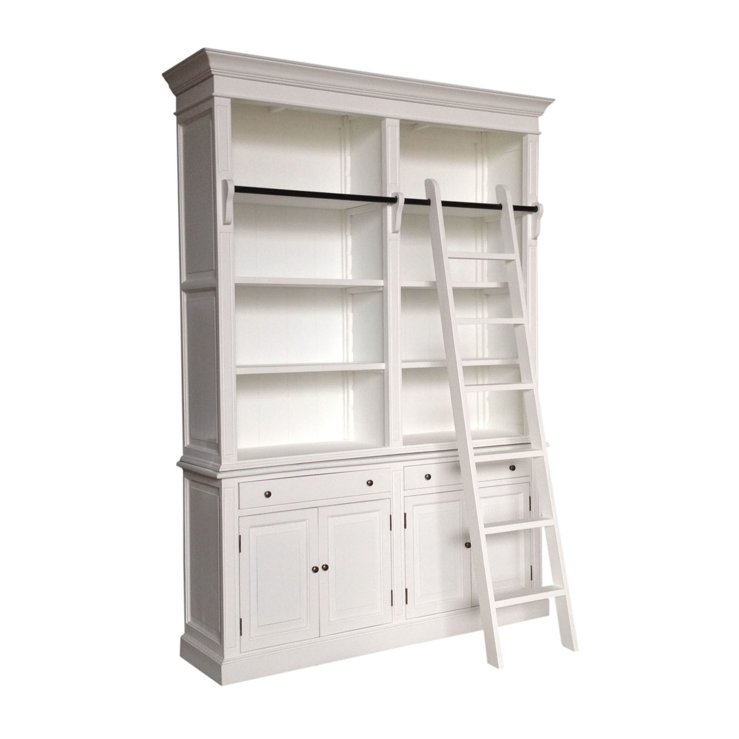 China Antique White Painted French Wooden Furniture Bookcase