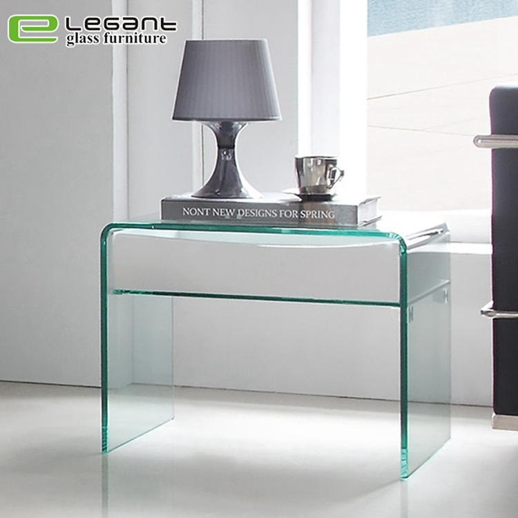 china curved glass night table with