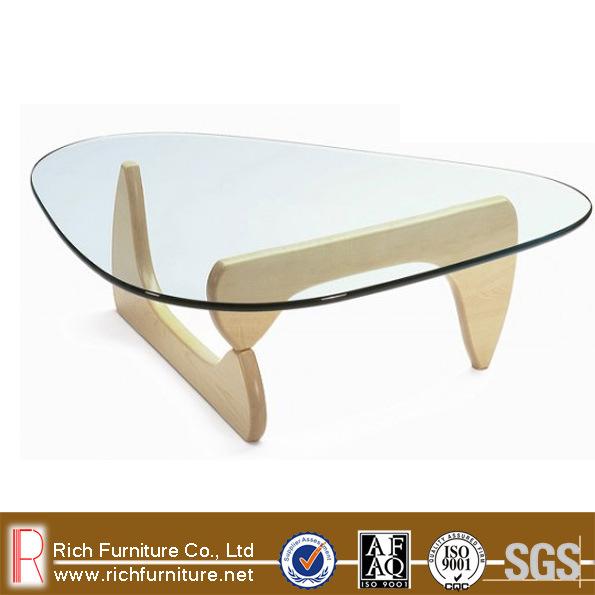 designer oak wood base glass top