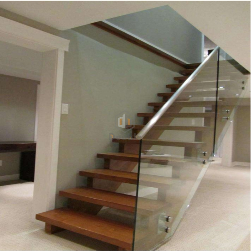 China Double Beam Wood Staircase Step Ladder With Glass Railing   Steel Ladder Design For Home   Beautiful   Interior   Custom   Steel Staircase   Loft Ladder