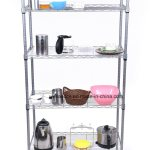 Hot Item Silver Epoxy Coated 5 Shelves Diy Wire Shelving Unit On Wheels With 4pcs S Hooks