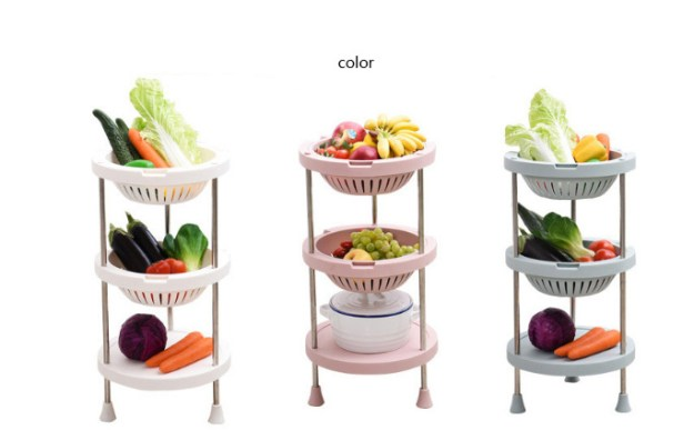 china 3 4 layers kitchen vegetable and fruit plastic round storage