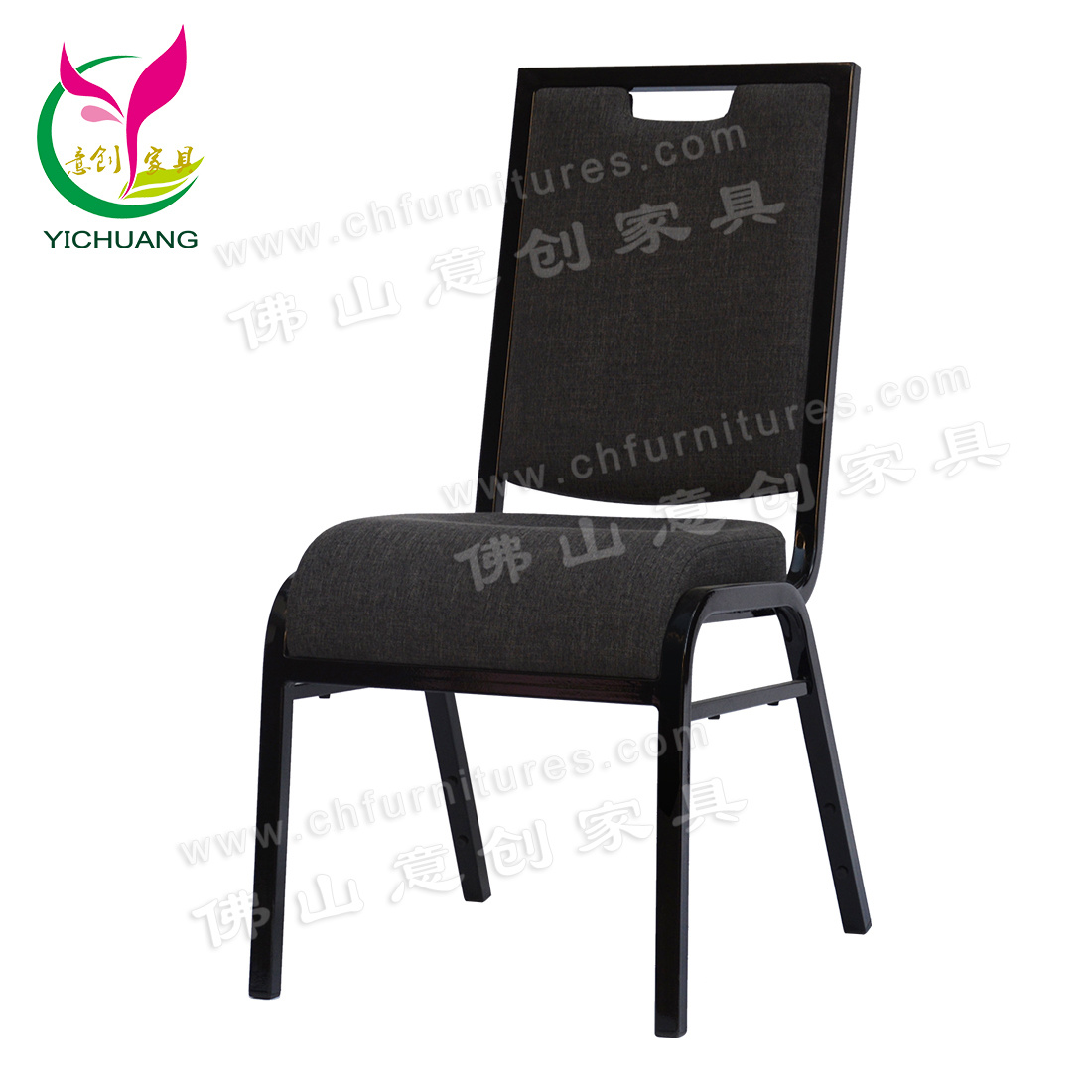 Hot Item Yc Zl46 High Quality And Elegant Black Metal Hotel Stacking Banquet Chair