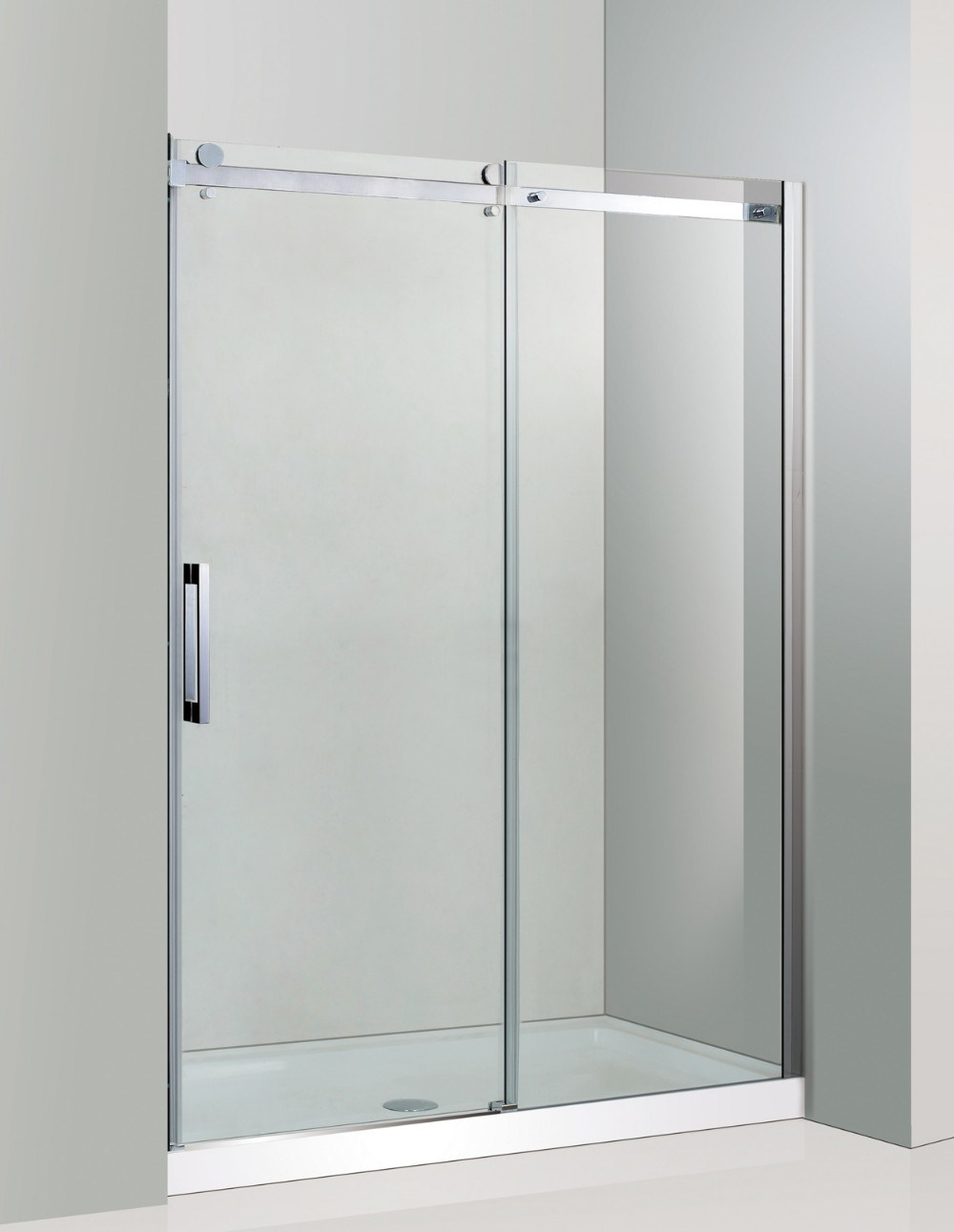 Hot Item Sally 8mm Wall Inline Frameless Tempered Glass Single Sliding Shower Door With Twin Big Roller Wheels Enclosure