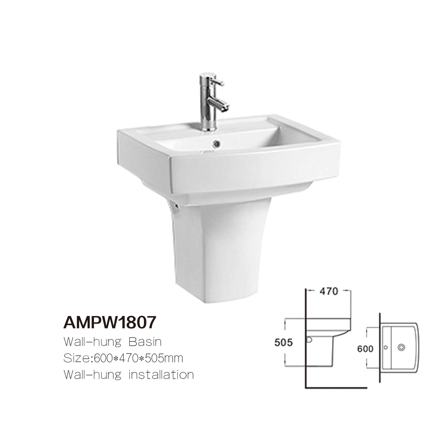 hot item ampw1807 sanitary ware square bathroom ceramic wall hung sink