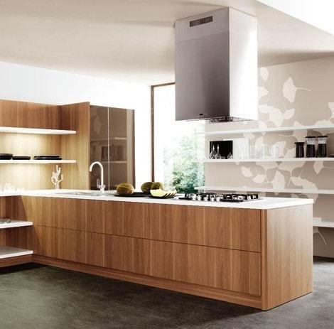 Wood Veneer Kitchen Cabinets (Booth)