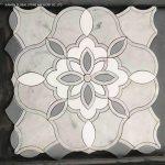China Pretty Flower Pattern Design Carrara White Marble Water Jet Mosaic Panels Wall Floor Tiles China Bianco Carrara Marble Marble Mosaic Tiles