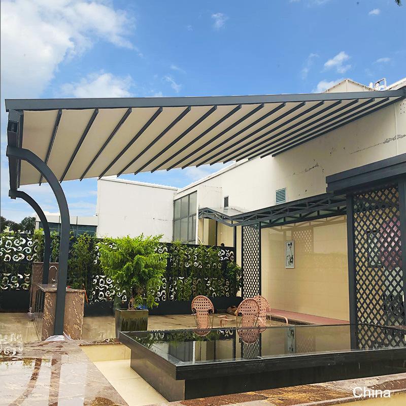 china motorized patio opening roof side