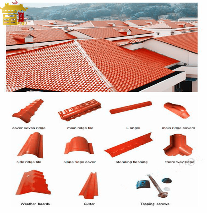 hot item spanish synthetic resin material pvc plastic outside anti corrosion roof tiles