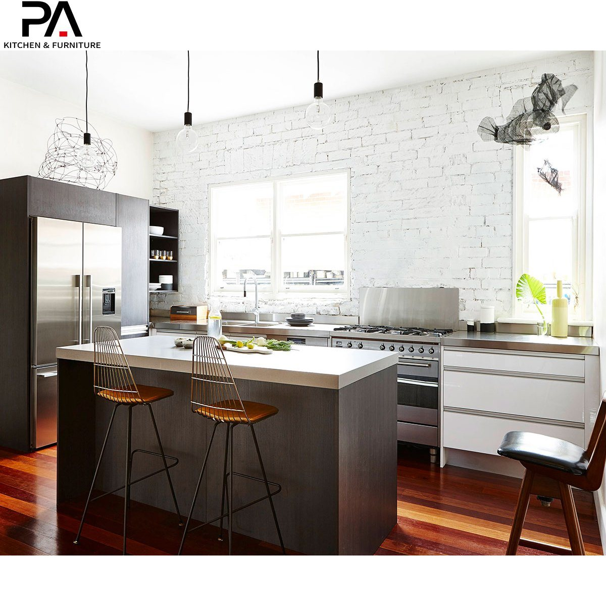 Hot Item Custom Intelligent Combined Wooden Melamine Kitchen Cabinets With Island