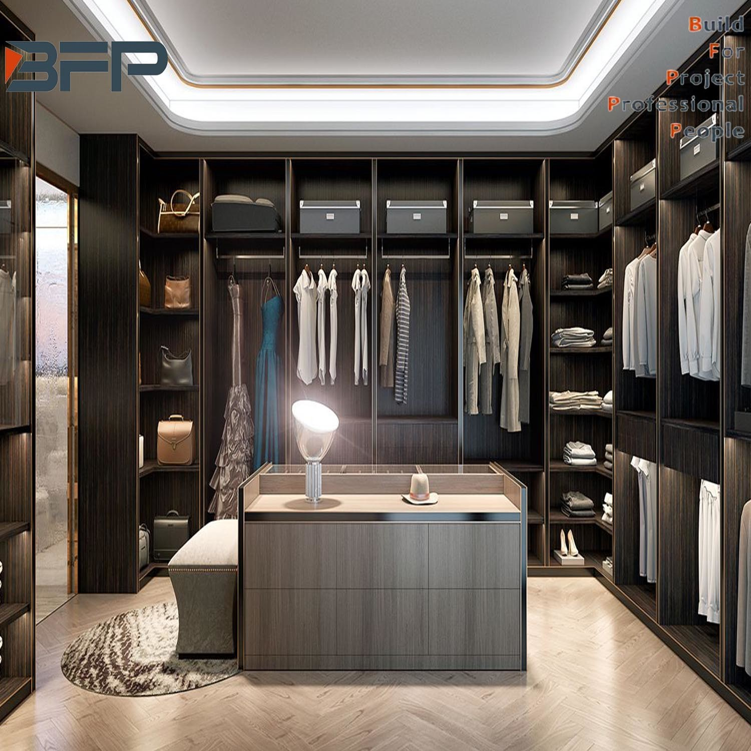China Luxury High End Design Affordable Price Solid Wood Walk In Wardrobe China Glass Door Wardrobe Bedroom Furniture