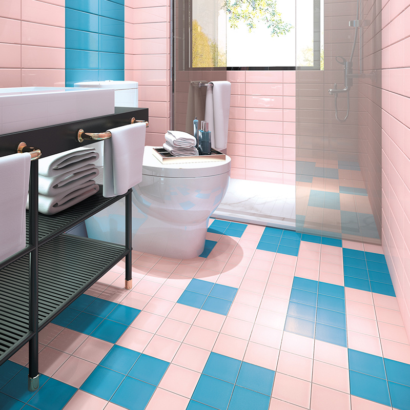 hot item pink color 20x20 matte finish ceramic bathroom tile for wall and floor
