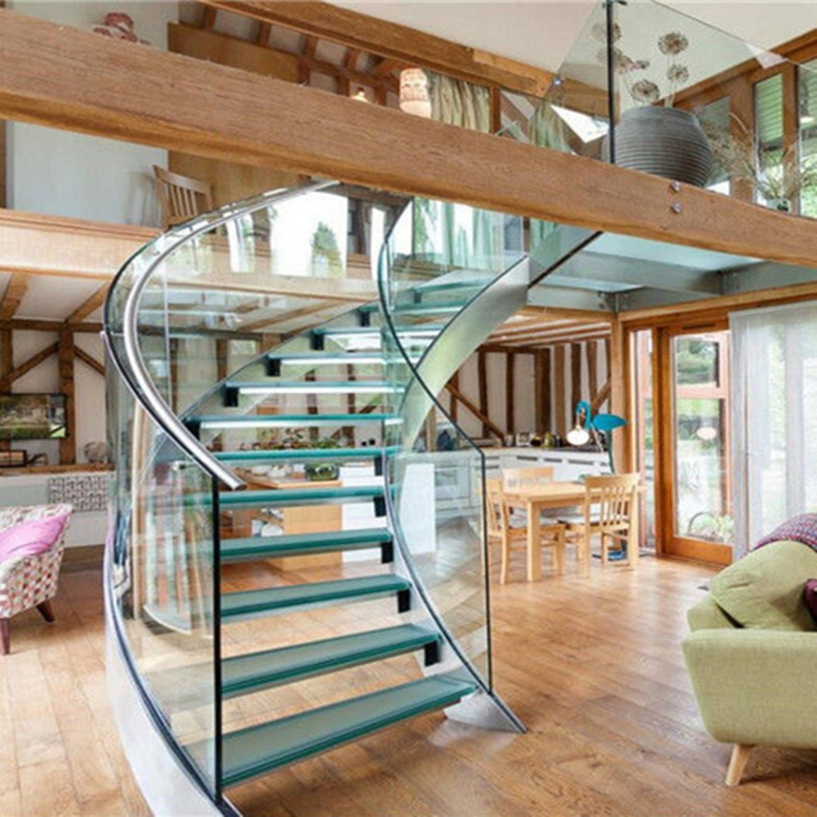 Best Price Curved Glass Staircases With Bent Glass Railing Glass   Spiral Staircase With Glass Railing   Metal   Residential   In India Staircase   Contemporary Glass   Thin Glass