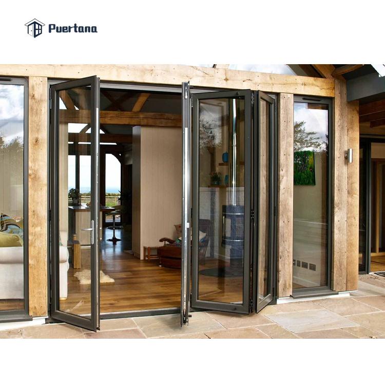 hot item exterior aluminium folding stacking patio door black aluminum folding door with mosquito net