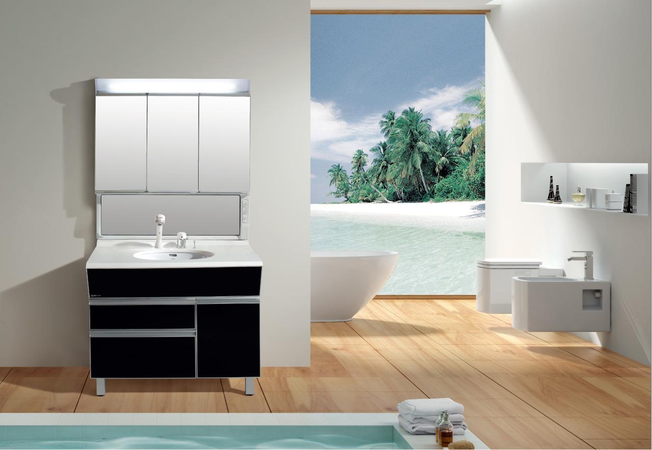 Vanit Noire De Salle De Bains Avec Le Cabinet De Miroir