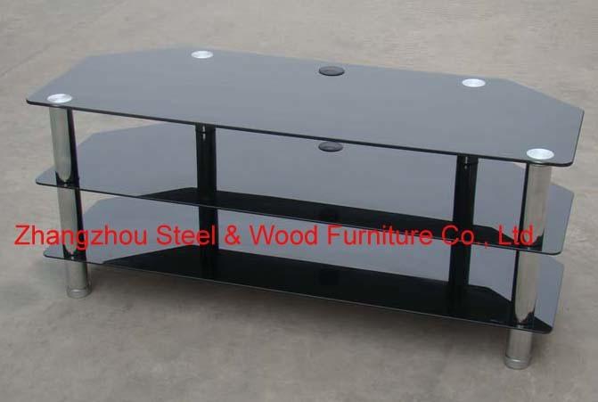 115 cm meuble tv en verre noir