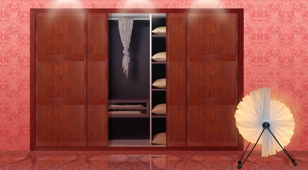 porte coulissante en bois rouge armoire