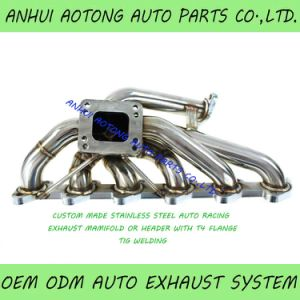 custom made auto sports stainless steel tig welding turbo exhaust header exhaust manifold with t4 flange