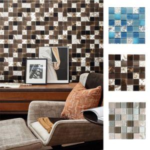 elegant art arabesque mixed glass natural stone mosaic wallpaper bathroom tiles glass mosaic square marble mosaic tile
