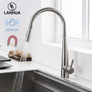 modern automatic sensor upc single handle pull out stainless steel sus 304 sus304 body ss flexible kitchen water sink tap faucet for kitchen sink