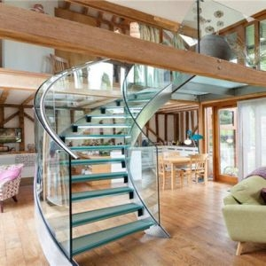 China Luxury Curved Glass Staircases Helical Staircase Design | Semi Spiral Staircase Design | Handrail | Inside | Semi Circular | Elegant | Residential Library