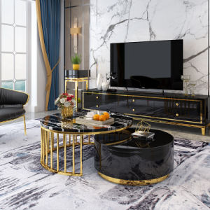 marble top and metal coffee table