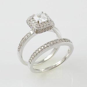 China White Gold CZ 925 Silver Wedding Ring Sets China