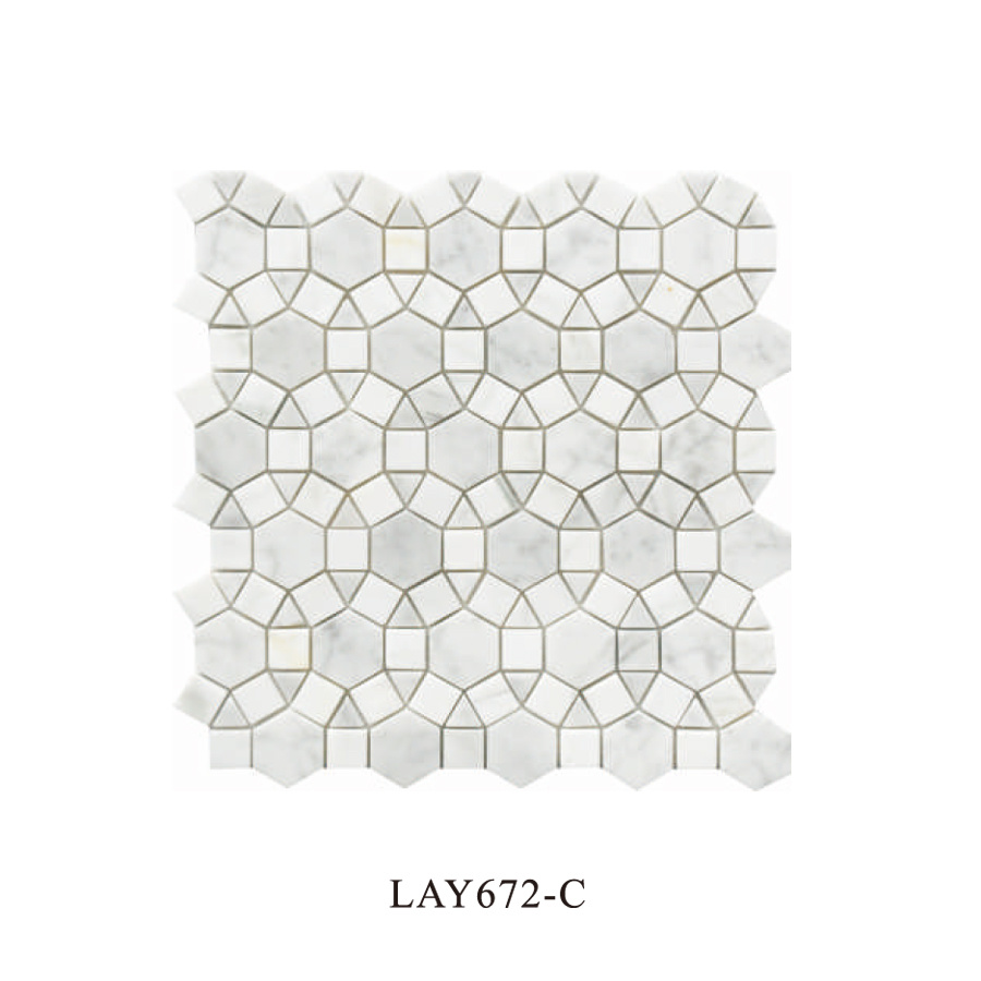 carrara white hexagon mosaic tile for