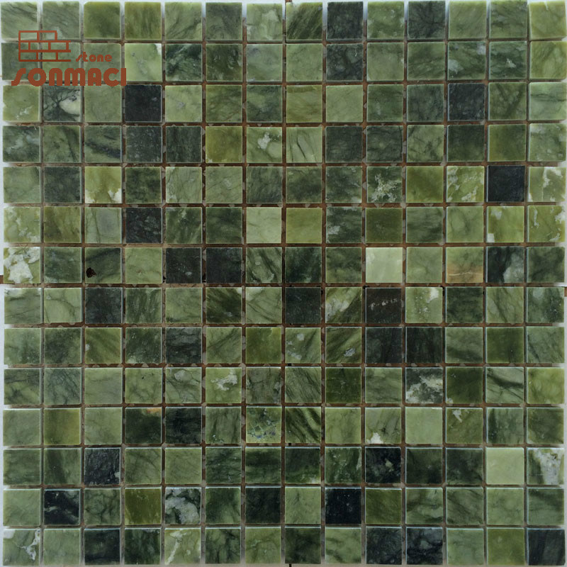 green color small square marble mosaic