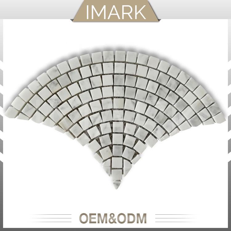 carrara white marble fan pattern floor
