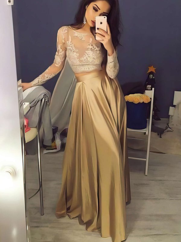Gold Lace Inexpensive Long Formal Dresses