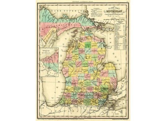 How each county in Michigan got its name   MLive com A new map of Michigan with its canals roads distances by H S  Tanner   1842   Public Domain