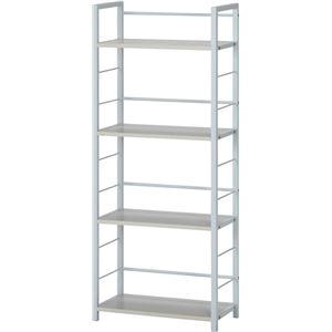 シェルフ/収納棚 【ホワイト】 幅50cm スチールフレーム 棚板4段付き 『フレックス』