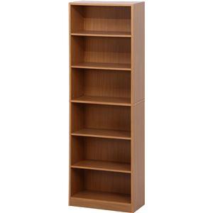 多目的 収納棚/本棚 6段 【ナチュラル】 幅60cm 〔オフィス 書斎 子供部屋〕
