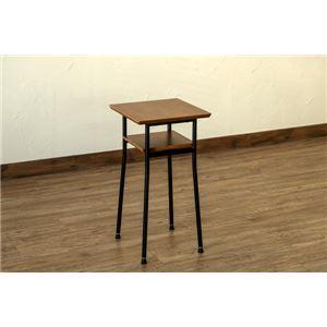 サイドテーブル/センターテーブル 【ウォールナット ミニタイプ 幅30cm】 アジャスター スチール製脚 棚板付き 『Chico』