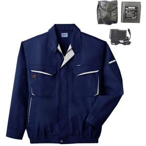 空調服 綿・ポリ混紡長袖作業着 K-500N 【カラー:ネイビー サイズ M】 リチウムバッテリーセット
