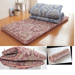 ボリュームアップ 3層厚手敷布団 ピンク系