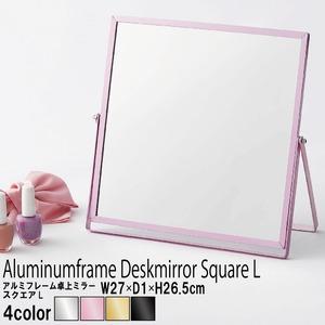 【12枚セット】 アルミフレーム卓上ミラー/卓上鏡 【L/ピンク】 飛散防止加工 角度調整可 ベーシックデザイン 【完成品】