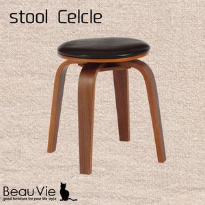 北欧風 回転スツール/丸椅子 【2脚セット】 幅36cm×奥行36cm×高さ45.5cm 合成皮革地 ウレタン 合板 置台対応