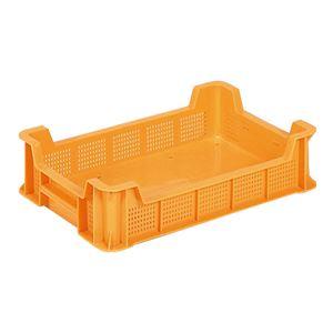 (業務用10個セット)三甲(サンコー) 全面網目コンテナボックス/サンテナー スタッキング可 B11 オレンジ