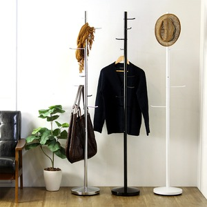 スタイリッシュ ポールハンガー/コート掛け 【ブラック】 幅28cm×奥行28cm×高さ173cm スチール製